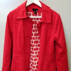 H&M Red Trench Coat Style Jacket